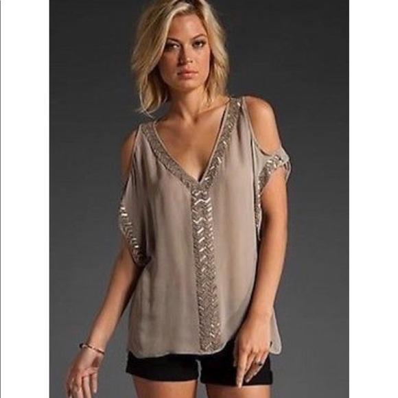 8e942241656b0d Parker Tops | Silk Chiffon Cold Shoulder Top Tunic | Poshmark
